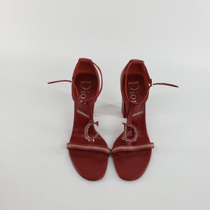 Christian Dior Red Leather C D Logo Sandals